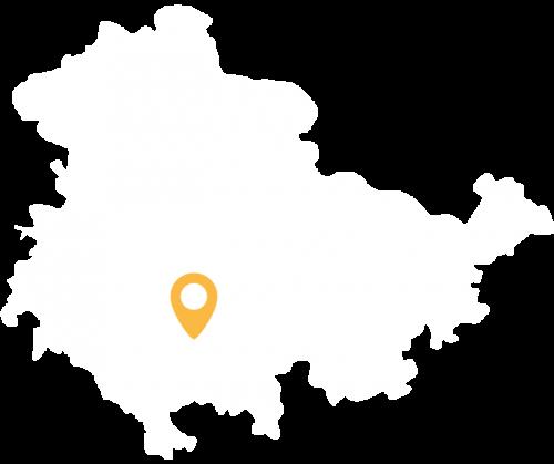 Thüringenkarte mit Standort des Ferienhauses